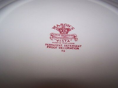Masons / Mason's Pink / Red Vista 10 3/4'' Banquet Or Large Dinner Plate 4