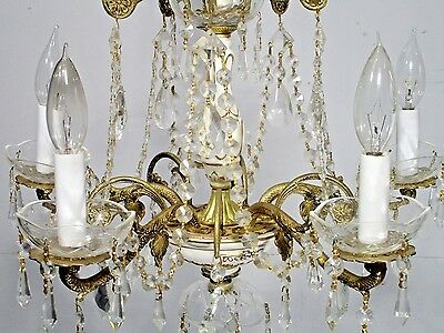 Antique Vintage Chandelier Bronze Porcelain Italy Original Restored 5