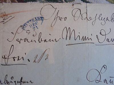 Dokumente r 20 / Brief Noten Vorphila Stuttgart Cannstadt Reuß Komposition 1850