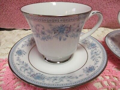 Noritake Blue Hill Cup and Saucer Sets Floral Platinum Unused 2 Sets 2