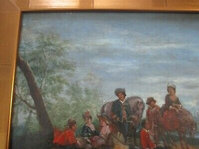 Antique 18Th To 19Th Century Painting On Wood  Old Master Landscape Figures 8