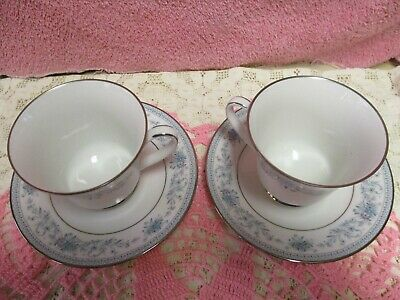 Noritake Blue Hill Cup and Saucer Sets Floral Platinum Unused 2 Sets 3