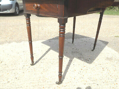 antique,victorian,mahogany,pembroke,table,drop side,extending,drawer,tall legs 2