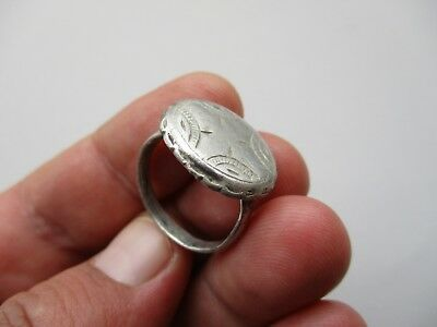 magnificent ancient Middle Ages silver carved shield ring,circa 12 century