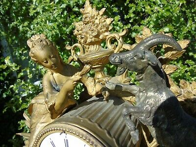 Antique Classical Mantel Clock Japy Freres  D Honneur Gilt Goat  French Art Girl 4
