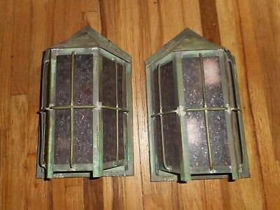 Antique ARTS & Crafts Bungalow MISSION Porch Hanging Light Fixture Sconces RARE 2