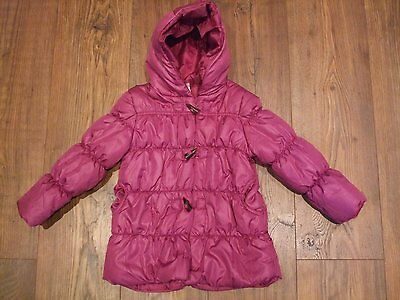 Kids age 3 4 years girls coat pink plum colour padded zip up angel hooded Winter 2