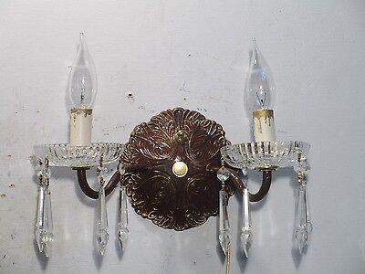 Antique Vintage Sconce Bronze Crystal 2 Light Crystals 2