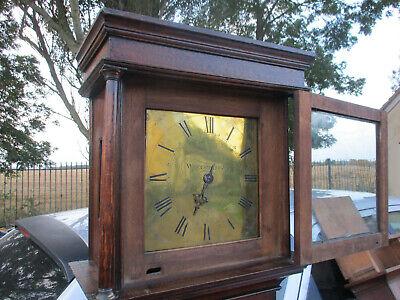 "Demayne Woodbridge Suffolk 10"" Brass Dial Posted Frame Longcased Clock 2"
