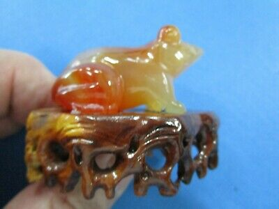 Carnelian Carved Frog  with matching Wooden Stand 5