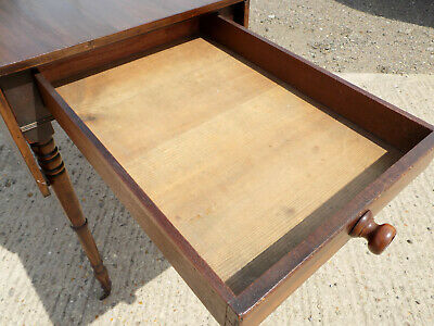 antique,victorian,mahogany,pembroke,table,drop side,extending,drawer,tall legs 9