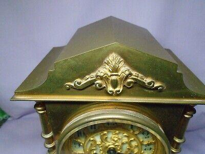 ANTIQUE BRASS FRENCH A.D.MOUGIN STRIKING MANTEL CLOCK + KEY c1860 IN GWO 4