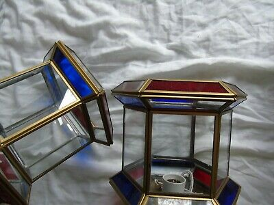 Stained Glass Leaded Copper Brass Lantern Lamp Shade Light 2 Red Blue 8