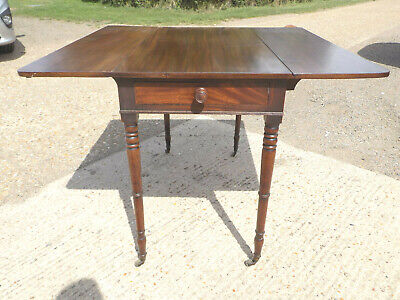 antique,victorian,mahogany,pembroke,table,drop side,extending,drawer,tall legs 3