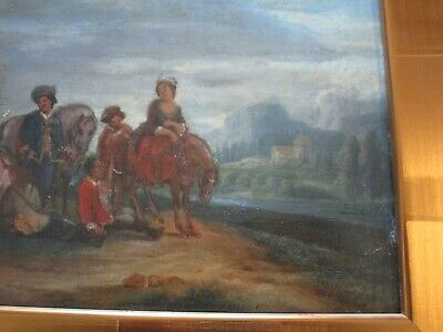 Antique 18Th To 19Th Century Painting On Wood  Old Master Landscape Figures 6