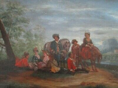 Antique 18Th To 19Th Century Painting On Wood  Old Master Landscape Figures 5
