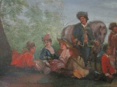 Antique 18Th To 19Th Century Painting On Wood  Old Master Landscape Figures 11