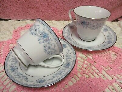 Noritake Blue Hill Cup and Saucer Sets Floral Platinum Unused 2 Sets 4