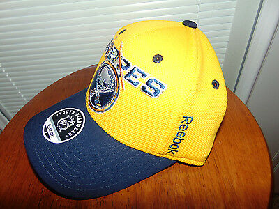430cd4246dd ... Reebok NHL HOCKEY Buffalo Sabres Yellow BLUE Hat Cap YOUTH Fitted  CENTER ICE NEW 2