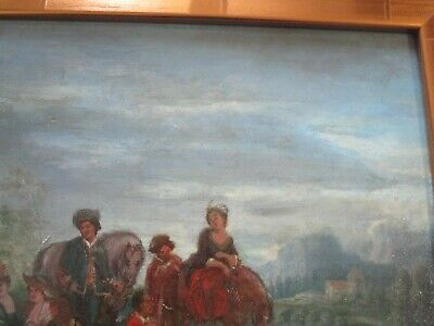 Antique 18Th To 19Th Century Painting On Wood  Old Master Landscape Figures 7