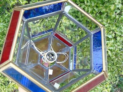 Stained Glass Leaded Copper Brass Lantern Lamp Shade Light 2 Red Blue 12