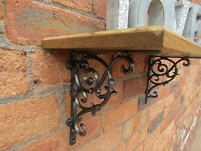SOLID OAK WOOD HANDMADE SHELVES rustic Shelf cast iron shelf brackets 2
