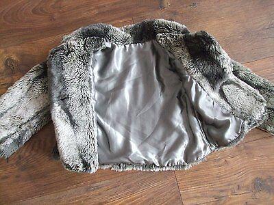 Fits Age 4 Years Girls Three Tone Grey Faux Fur Jacket Autumn Winter Kids 2