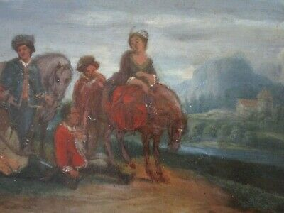 Antique 18Th To 19Th Century Painting On Wood  Old Master Landscape Figures 10