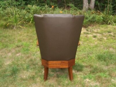 Antique Arts & Crafts High Back Chair Wood and Leather
