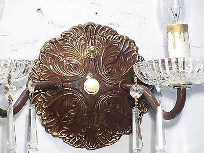 Antique Vintage Sconce Bronze Crystal 2 Light Crystals 3