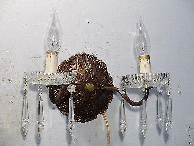 Antique Vintage Sconce Bronze Crystal 2 Light Crystals 5