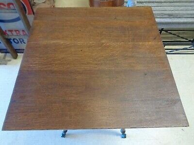 Antique Oak Table - Turned Legs - Claw & Glass Ball Feet 8