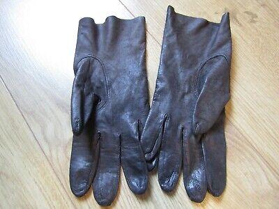 Vintage LADIES dark brown leather gloves   Size 7/8 3
