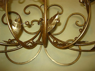 Vintage French Gold Wrought Iron WALL SCONCE Candelabra Candle Holder ChicShabby 5