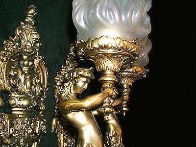 chandelier BRONZE & GLASS w/ MERMAIDS  sculptures 12