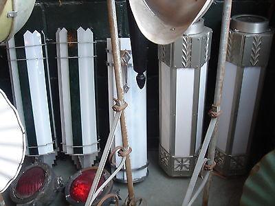 PAIR Genuine Original Art Deco Period Theater Sconces Metal/Glass Masterpieces! 12