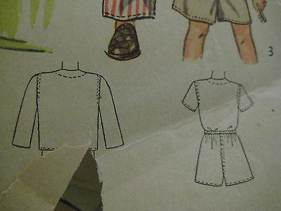 Vintage 40s Simplicity 2548 Boy DRAWSTRING PAJAMAS Sewing Pattern Sz 8 Child 6