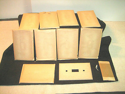 Vtg Lot 10 Sealed Nos Beige / Tan Textured Metal Wall Switch Plates & Screws 6