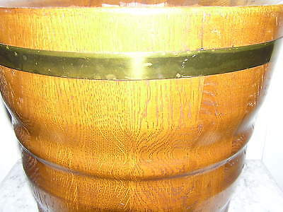Large Antique Flower Pot From Oak Wood With Brass Hoops. 2