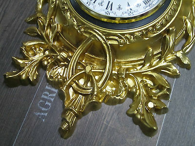 Wall clock Swan in Gold with Thermometer Antique look 38x65cm BAROQUE