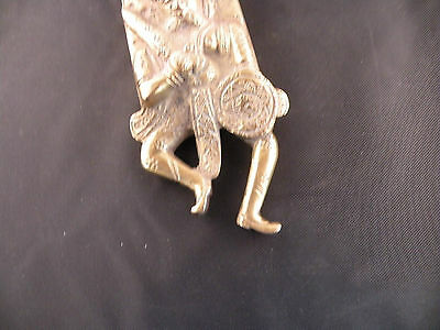 Vintage dancing man shaped large brass lock from India, very ornate 7