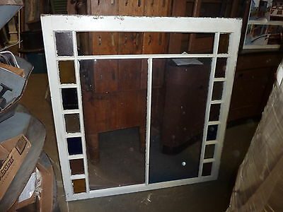 "LARGE QUEEN ANNE 19th century STAIN glass window frame sash 49.5 x 51 x 1.75"" #2 2"