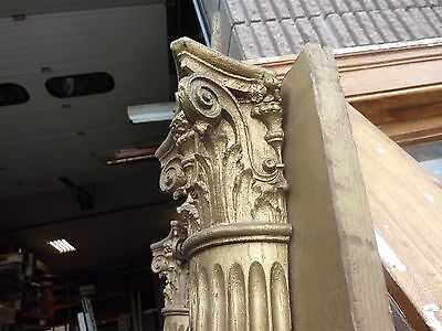 "c1900 SALVAGED pilasters NY state theatre OAK fluted CORINTHIAN capital 85"" H 8"
