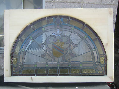 ~ Antique American Stained Glass Window ~ 17 Jewels ~ Architectural Salvage ~ 9