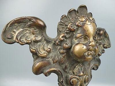 2 19th Century or Earlier Heavy Bronze Furniture Mounts Cherub Wings Angel BR 7