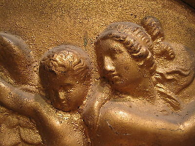 Antique Gold Architectural Figural Angel Wings Fire Roses Interior Decorate