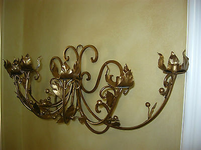 Vintage French Gold Wrought Iron WALL SCONCE Candelabra Candle Holder ChicShabby 3