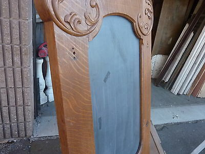 "QUARTERSAWN oak hall mirror frame REPURPOSED w/slate chalkboard insert 67 x 29"""