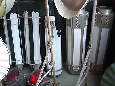 WOW! Genuine Original Art Deco Period Theater Sconce Metal/Glass Masterpiece! 11