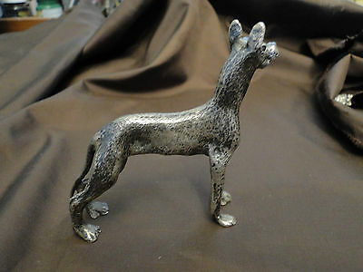 Miniature Great Dane Dog Made In Silver  800 Marked In Italy Circa 1940
